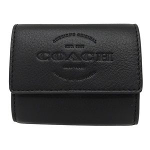 Coach F24652 Coin Case Black Natural Men's Wallet